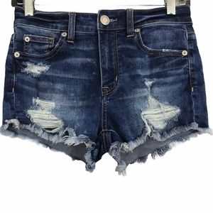 American Eagle Hi Rise Shortie Destroyed Shorts